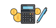 Calculator, 3 coins and pen illustration