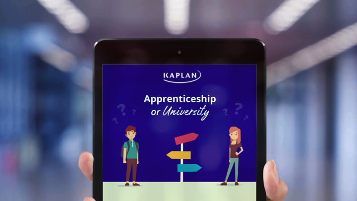 Apprenticeship or University infographic on a tablet