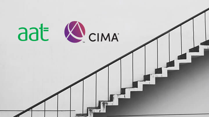 AAT and CIMA logos next to a flight of stairs