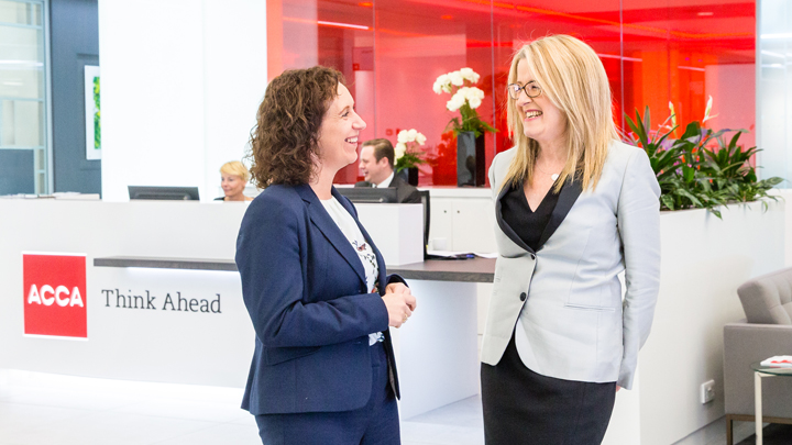 Zoe Robinson, Kaplan Director of Accountancy, and Alison McHugh, ACCA Director of Education Development,  talking.
