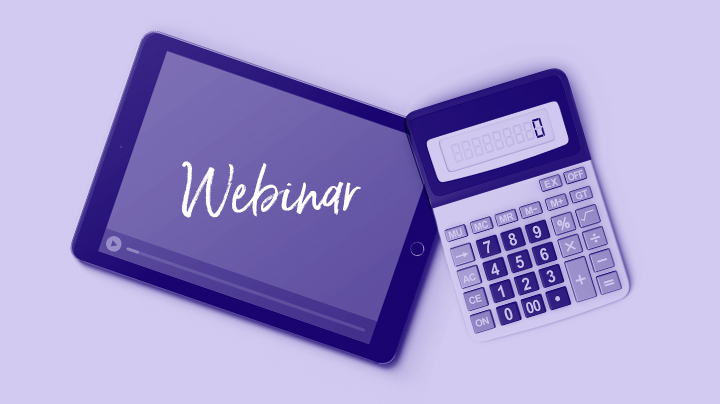 Webinar header with a tablet and calculator