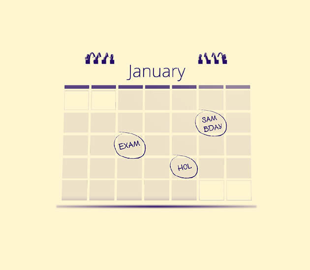Calendar showing important dates in January.