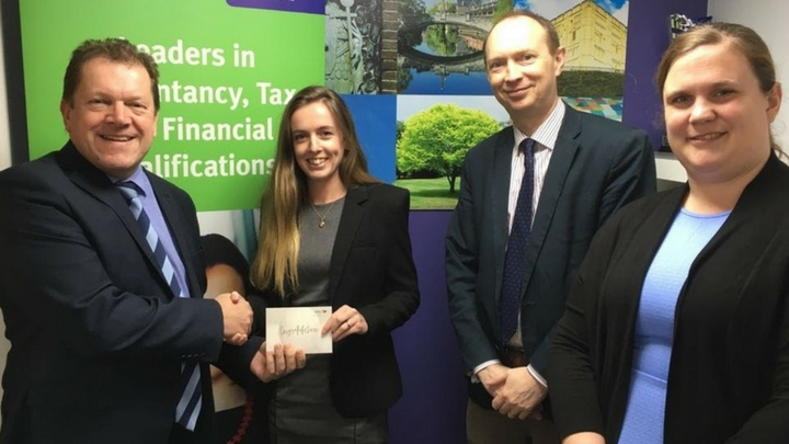 Left to right: Tim Howes (Norwich Centre Manager), Lauren Day (ACCA Gold Medalist), Steve Rudd (Staff Partner) and Rachael Tingey (HR Executive at Larking Gowen).