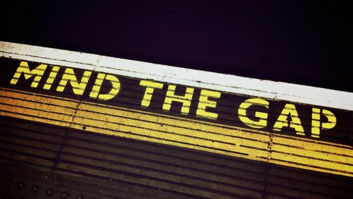 Mind the gap written on a London Underground platform