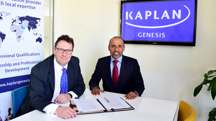 Kaplan UK Chief Executive Officer Peter Houillon and Binod Shankar, Managing Director of Genesis Institute