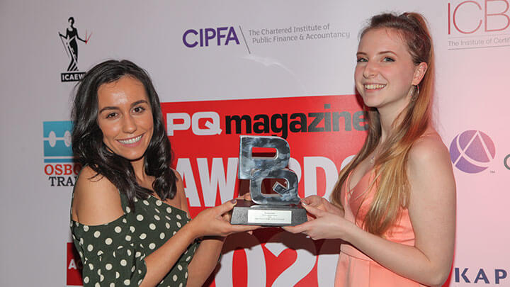 Kaplan employees holding an award