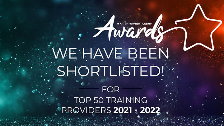 """Rate My Apprenticeship banner stating """"We have been shortlisted for the top 50 training providers 2021 - 2022"""""""