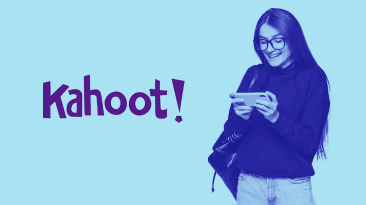 Student smiling at her phone next to the Kahoot logo