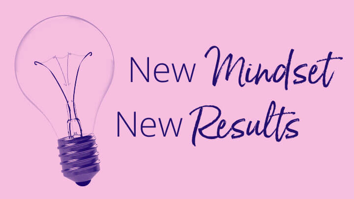 Text next to lightbulb that says new mindset new results