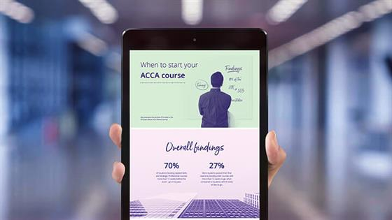 Mobile phone with 'When to start your ACCA course' infographic
