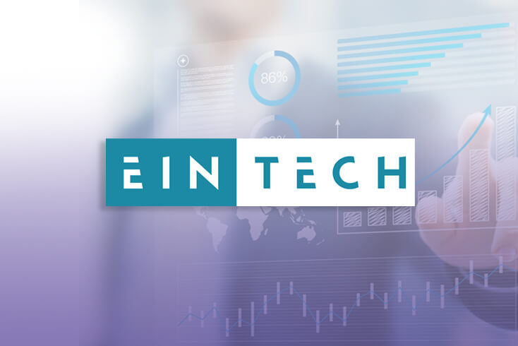Eintech logo overlaid an illustration of graphs and charts