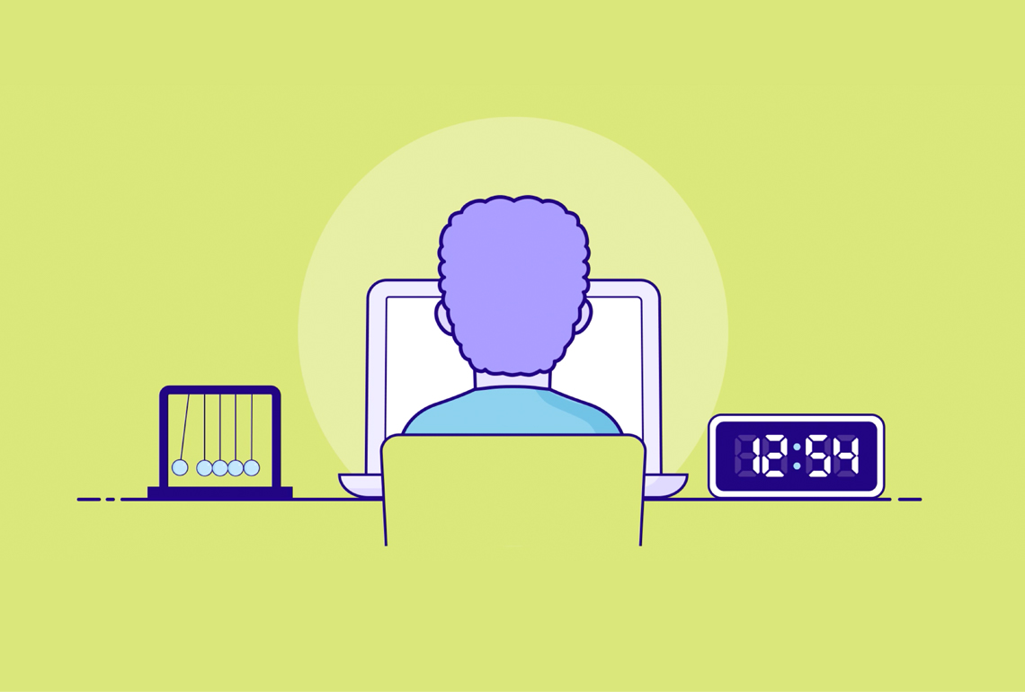 Illustration of an abacus, person at a computer screen and a digital clock
